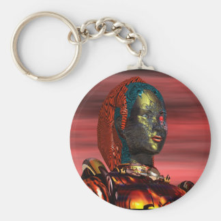 ARES - CYBORG PORTRAIT,RED SUNSET Science Fiction Basic Round Button Key Ring