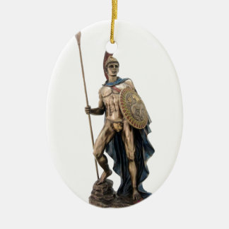 ARES GREEK WARRIOR GOD STATUE CHRISTMAS ORNAMENT