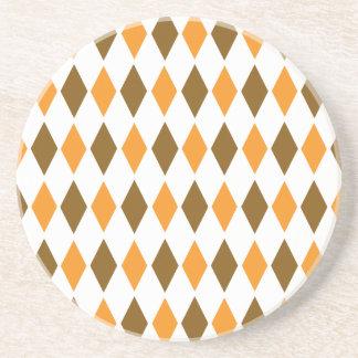 [ARG-BRO-1] Brown and orange retro argyle Coaster