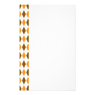 ARG-BRO-1 Brown and orange retro argyle Personalized Stationery
