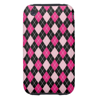 [ARG-PINK-1] Pink and black argyle iPhone 3 Tough Case
