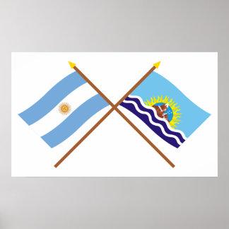 Argentina and Santa Cruz Crossed Flags Poster