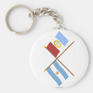Argentina and Santa Fe Crossed Flags Basic Round Button Key Ring
