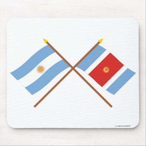 Argentina and Santiago del Estero Crossed Flags Mousepads