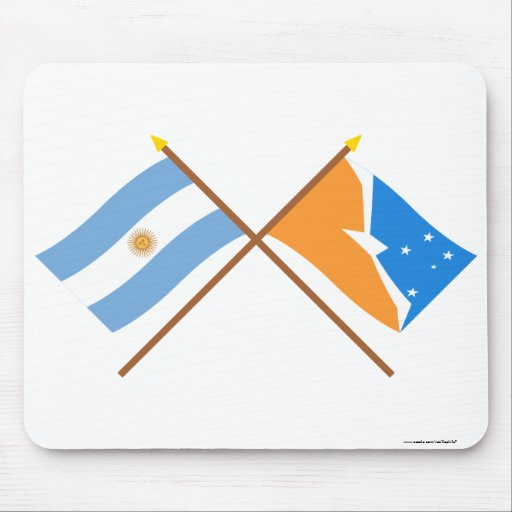 Argentina and Tierra del Fuego Crossed Flags Mouse Pad
