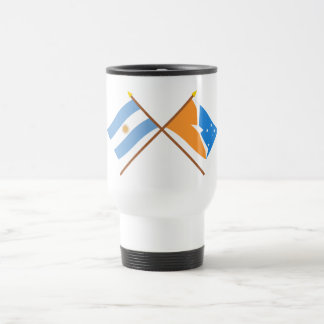 Argentina and Tierra del Fuego Crossed Flags Stainless Steel Travel Mug