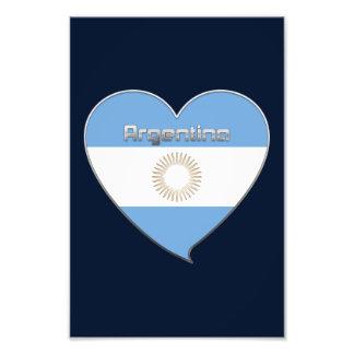 ARGENTINA bandera y corazón de colores argentinos Impresión Fotográfica