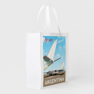 "Argentina ""By Air"" vintage flight poster Reusable Grocery Bag"