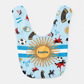 Argentina- country flag with famous items bib