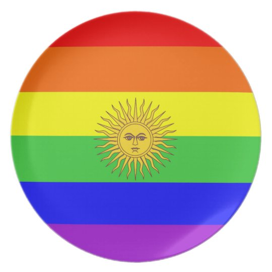 argentina country gay proud rainbow flag plate