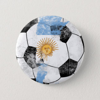 Argentina Distressed Soccer 6 Cm Round Badge