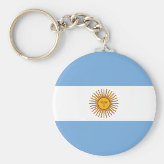 Argentina Flag AR Basic Round Button Key Ring