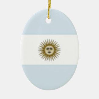 Argentina Flag Ceramic Oval Decoration