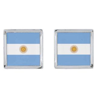 Argentina Flag Cufflinks Silver Finish Cuff Links