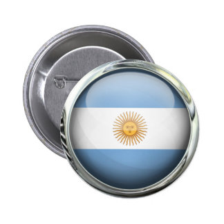 Argentina Flag Glass Ball 6 Cm Round Badge