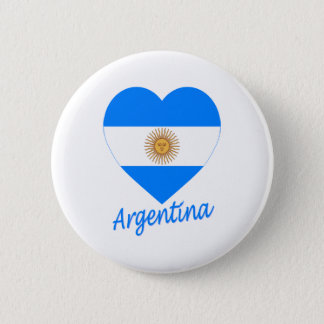 Argentina Flag Heart 6 Cm Round Badge