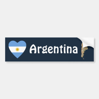 Argentina Flag Heart + Map Bumper Sticker
