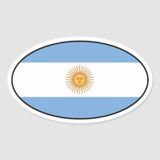 Argentina Flag Oval Sticker