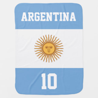 Argentina Flag with Your Baby Name and Number Baby Blanket
