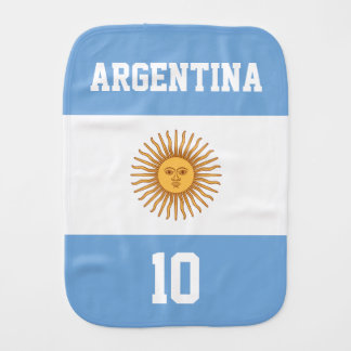 Argentina Flag with Your Baby Name and Number Burp Cloth