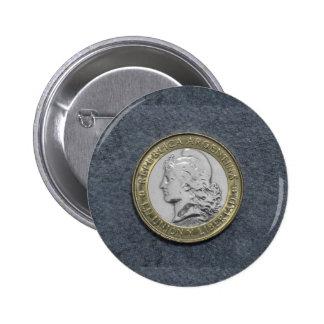 Argentina Gold Silver Grey Standard Round Button