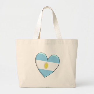 Argentina Heart Flag Large Tote Bag