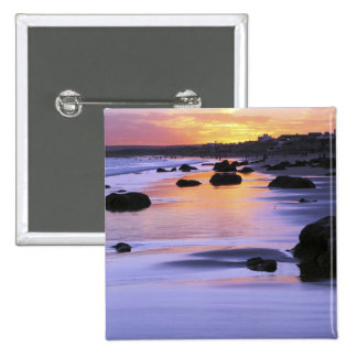 Argentina, Las Grutas. The beach at sunset. 15 Cm Square Badge