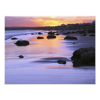 Argentina, Las Grutas. The beach at sunset. Photographic Print