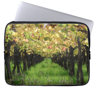 Argentina, Mendoza, Row Of Grape In Vineyard Laptop Sleeve