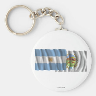 Argentina & San Luis waving flags Basic Round Button Key Ring