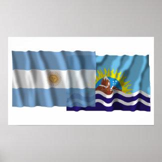Argentina Santa Cruz waving flags Posters