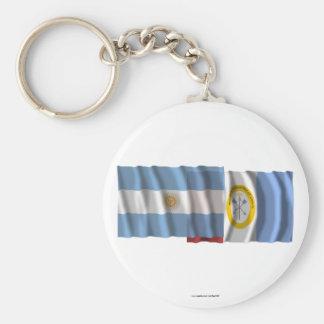 Argentina & Santa Fe waving flags Keychains