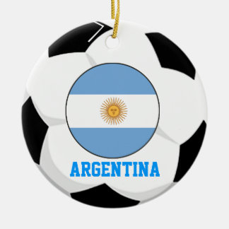 Argentina Soccer Fan Ornament 2 Times World Cup Ch