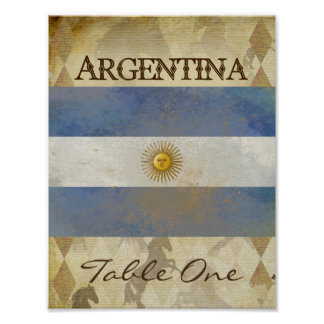 Argentina Table Number Poster