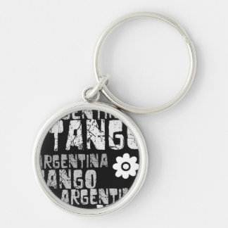 Argentina Tango Silver-Colored Round Key Ring