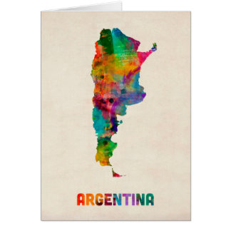 Argentina Watercolor Map Card