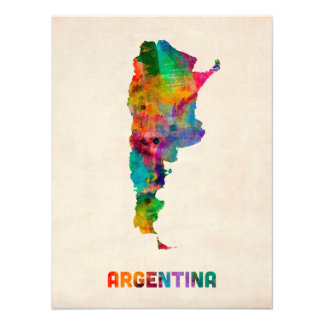 Argentina Watercolor Map Photo Art