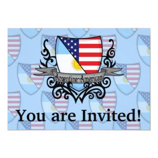 Argentine-American Shield Flag 13 Cm X 18 Cm Invitation Card
