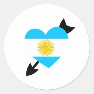 Argentine Flag Heart Classic Round Sticker