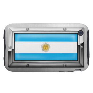 Argentine Flag in a Steel Frame Tough iPhone 3 Cases
