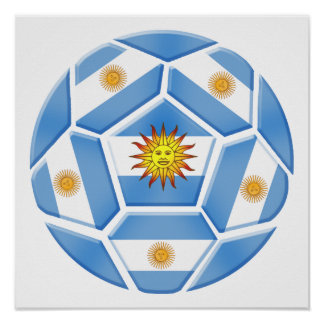 Argentine futebol Tees and soccer ball gear Poster