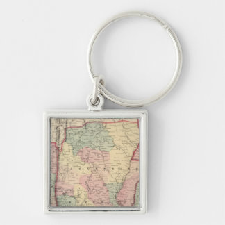 Argentine Republic, Chili, Uruguay and Paraguay Silver-Colored Square Key Ring