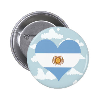 Argentinean Flag on a cloudy background 2 Inch Round Button