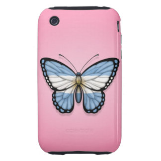 Argentinian Butterfly Flag on Pink Tough iPhone 3 Case