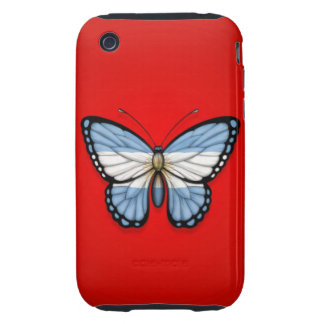 Argentinian Butterfly Flag on Red Tough iPhone 3 Case