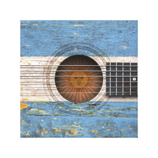 Argentinian Flag on Old Acoustic Guitar Stretched Canvas Print