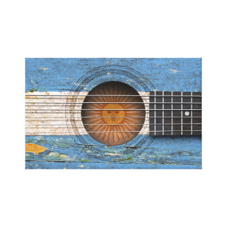 Argentinian Flag on Old Acoustic Guitar Stretched Canvas Prints