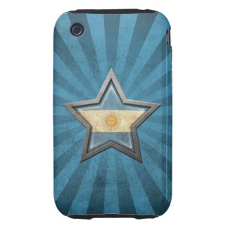 Argentinian Flag Star with Rays of Light Tough iPhone 3 Cases
