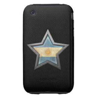 Argentinian Flag Star with Steel Mesh Effect Tough iPhone 3 Case