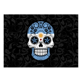 Argentinian Flag Sugar Skull with Roses Business Card Templates